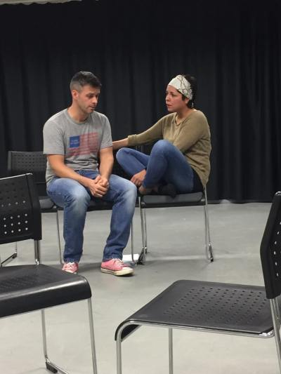 Marcella Hazel and Neil Procter in rehearsals for A Grey Divide